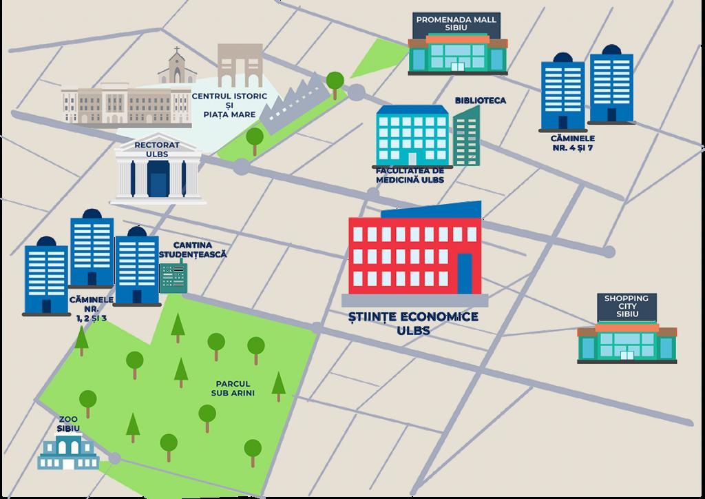 Harta campus Facultatea de Stiinte Economice ULBS Sibiu